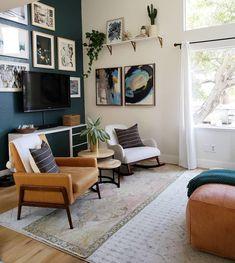 Home Decoration For Ganpati Decor, Living Room Carpet, White Rocking Chairs, Living Room Green, Tan Living Room, Home Living Room, Room, Neutral Living Room, Room Decor