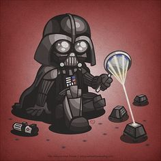 Darth Vader tries to set fire to droids with his magnifying glass in a front yard