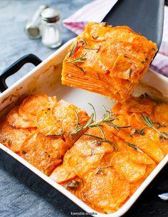 Gratin with yams Veggie Recipes, Whole Food Recipes, Vegetarian Recipes, Healthy Recipes, Healthy Cooking, Cooking Recipes, Whole Food Diet, Orange Recipes, Vegan Dishes