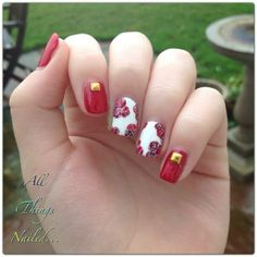 Red rose nail art for Valentine's Day by @allthingsnailed