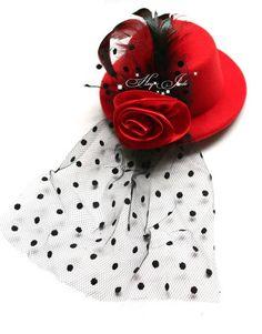 Mini top hat fascinator Feather veil & Satin Fabric Flower hair clips 5'' 6color 120pcs/lot US $28.00
