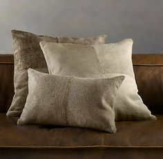 Brazilian Cowhide Pillow Collection, Sand - traditional - pillows - by Restoration Hardware Cowhide Pillows, Throw Pillows, Leather Living Room Set, Traditional Pillows, Buy Sofa, Rv For Sale, Cow Hide, Living Room Sets, Restoration Hardware