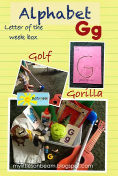 Letter of the week box: glue, glue stick, gift, green, garbage can, golf ball, golf club, girl, goose, gorilla shirt, guitar, flash cards.   Letter Gg Craft: sprinkle gold glitter on letter G {I added the glue on the G and my son loved sprinkling the glitter over the G}