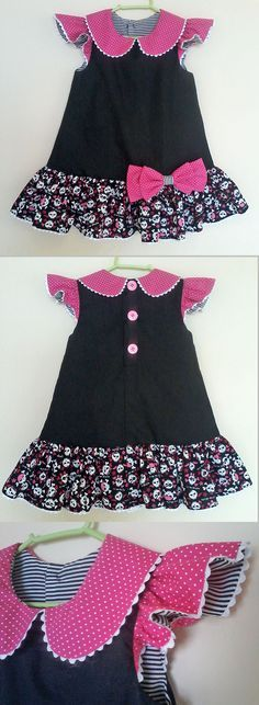 diy_crafts- Trapézio - A Line Dress -- -- -- baby - infant - toddler - kids - clothes for girls - Moldes Gratuitos - Free Patterns ------------------ Girls Dresses Sewing, Dresses Kids Girl, Little Girl Dresses, Kids Outfits, Baby Outfits, Frock Patterns, Kids Dress Patterns, Sewing Patterns, Toddler Dress