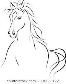 Illustration of horse illustration - black outline drawing vector art, clipart and stock vectors. Outline Images, Outline Drawings, Horse Drawings, Animal Drawings, Art Drawings, Horse Outline, Horse Stencil, Horse Tattoo Design, Horse Illustration