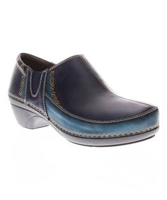 Loving this Navy Nessia Leather Clog on #zulily! #zulilyfinds