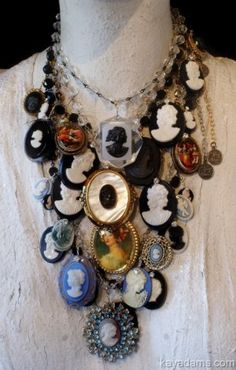 Necklace assemblage of vintage cameos