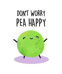 """'Don't Worry, Pea Happy Vegetable Food Pun' Sticker by punnybone 'Don't Worry, Pea Happy Vegetable Food Pun' Sticker by punnybone,Puns """"Don't Worry, Pea Happy Vegetable Food Pun"""" by punnybone Funny Food Puns, Punny Puns, Cute Jokes, Cute Puns, Food Humor, Kid Puns, Jokes Kids, Funny Cards, Cute Cards"""