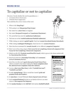 "Capitalization exercise — This worksheet is a companion to the free grammar poster: ""To capitalize or not to capitalize...""."