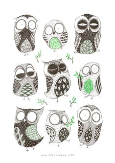 Spring Owls. Also available as a print, bag or pillow and more on my Society6 shop! Post on Tumblr. © Teemu Juhani TEEMUJUHANI.COM | FACEBOOK | TUMBLR | INST...
