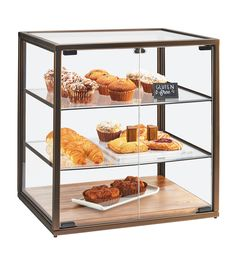 Item: 3610 Square Vintage Bakery Case Showcase your culinary creations with this stunning square bakery case featuring a vintage frame and wood base. The three shelves along with the clear doors and panels allow for easy viewing for your customers.