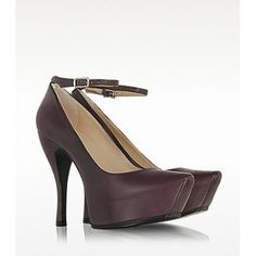 McQ Alexander McQueen Burlesque Burgundy Leather Platform Pump