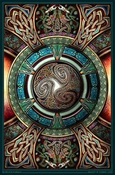 I like the celtic influence combined with mandala form and colours often used in gothic stained glass windows. A lot of influences in this artwork.