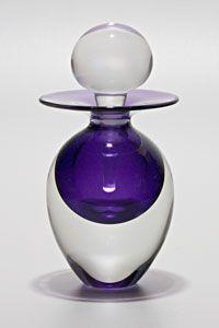 """Egg Perfume Bottle: Grape"" Art Glass Perfume Bottle Created by Michael Trimpol"