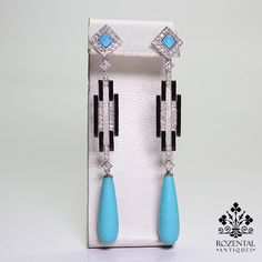 Antique Art Deco Platinum Diamond & Turquoise Earrings