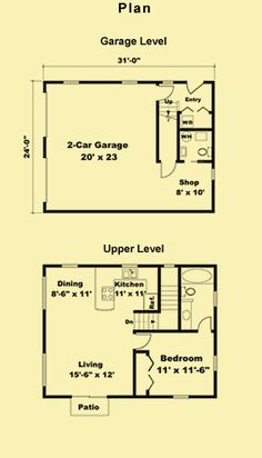 Bedroom apartment house and search on pinterest for Garage guest house floor plans