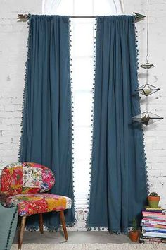 Plum & Bow Blackout Pompom Curtain, lovely in the bedroom