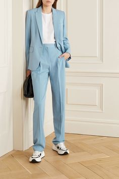 Light-blue wool-blend twill Concealed button and zip fastening at front wool, elastane Dry clean Designer color: Mineral Blue Muslim Fashion, Korean Fashion, Stella Mccartney, Suit Fashion, Fashion Outfits, Modern Suits, Suits For Women, Clothes For Women, Savile Row