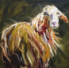 Lamb Painting - Abstract Sheep by Diane Whitehead
