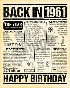 60th Birthday Theme, Birthday Charts, 60s Party, Newspaper Layout, E Sport, Calendar Girls, Milestone Birthdays, Vintage Ads, Family History