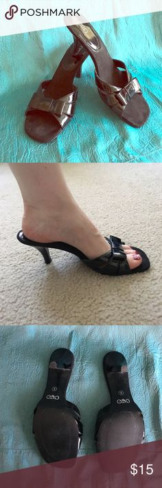 Black Cato Heel Sandals with Bow Black Cato 3 inch heeled sandals.  Excellent condition. Cato Shoes Heels