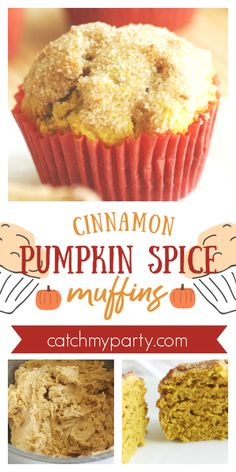If you want muffins that taste like a cross between a pumpkin muffin and a cinnamon sugar donut, try our cinnamon pumpkin spice muffin recipe! Pumpkin Recipes, Fall Recipes, Fall Desserts, Dessert Recipes, Breakfast Recipes, Pumpkin Spice Muffins, Thanksgiving Cakes, Berry Muffins, Cinnamon Sugar Donuts