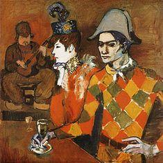 """Periodo Rosa de Picasso (1904-1907). En el """"Lapin Agile"""" (Arlequín con copa), 1905"""