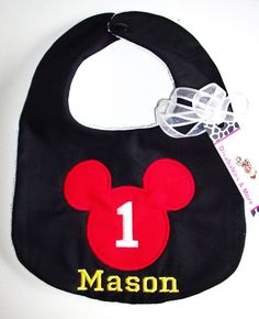 Divababies- Personalized Mickey Mouse Birthday Bib - Personalized w/ Birthday Age and Child's Name. $14.00, via Etsy.