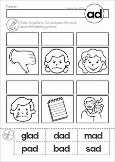 AD Word Family. Cut out the words from the bottom of the page and past them above the matching pictures.