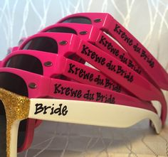 Personalized Krewe sunglasses for your New Orleans Bachelorette party/Mardi Gras/Big Easy/ bachelorette/bachelor party in NOLA/New Orleans by GreenBridalBoutique on Etsy https://www.etsy.com/listing/290437687/personalized-krewe-sunglasses-for-your