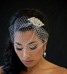 Birdcage Veil, Wedding Birdcage Veil, 7 inch Birdcage Veil, Wedding Veil, Bridal Veil - DENISE - Veil – Denise This is a hand made dainty 7 Russian tulle veil with rhinestone comb. Wedding Hair And Makeup, Bridal Hair, Hair Makeup, Veil Hairstyles, Wedding Hairstyles With Veil, Wedding Hats, Wedding Veils, Wedding Entrees, Rockabilly Hair