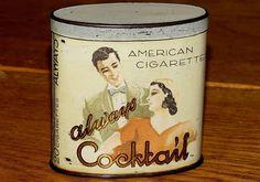 Vertical Greek Turkish Turmac Always Cocktail Cigarette Tobacco Tin 1930
