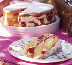 This is a light and creamy raspberry-flavoured cake that's ideal as a summertime treat. The cake works particularly well for al-fresco . Cake Recipes Bbc, Layer Cake Recipes, Bbc Good Food Recipes, Sweet Recipes, Layer Cakes, Poke Cakes, Delicious Recipes, Chocolate Raspberry Cake, Chocolate Sponge