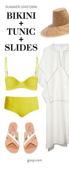 Our favorite summer outfit formula: Tunic, slides, and a bikini. Here, our favorite pieces of each