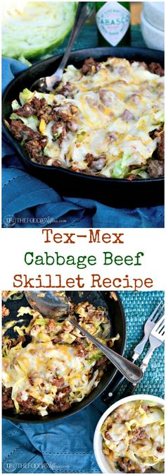 Cabbage Beef Skillet Recipe - Tex Mex Style with Mexican Cheese Blend! This low carb flavorful meal is ready in under thirty minutes! #SkilletMeal #TexMex #Hamburger