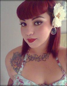 medium hair, bettie bangs.