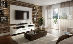 Conjunto para Sala de Estar de 10,20 m², com Rack, Painel e Mesa de Centro Branco Diamante Duna/Castanho - Caaza