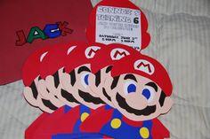Mario Party birthday invites made with card stock.