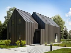 Modern Barn House, Steel Frame House, Black House Exterior, Modern Townhouse, Barn Renovation, Metal Siding, Build Your Own House, Small Buildings, House Extensions