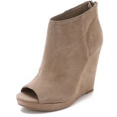 Dolce Vita Demy Suede Wedge Booties (£83) ❤ liked on Polyvore featuring shoes, boots, ankle booties, taupe, wedge booties, open toe booties, taupe booties, suede ankle booties and platform boots