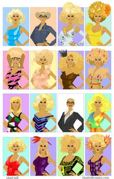 The many looks of RuPaul - by Chad Sell The Sellout, Rupaul Drag Queen, Real Queens, New Beginnings, Covergirl, Season 3, Pop Art, Kitty, Cartoon