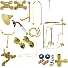 Kingston Brass Vintage Clawfoot Tub Wall Mount Package with Metal Cross Handles, Polished Brass Clawfoot Tub Shower, Bathtub, Shower Faucet, Vintage Tub, Bathroom Vintage, Small Bathroom, Shower Diverter, Faucet Handles, Brass Faucet