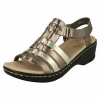 ebec71ada20a Details about Ladies Clarks Lexi Bridge Black Or Metallic Leather Wedge  Heel Sandals