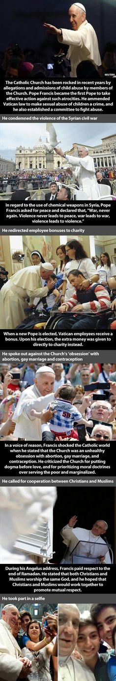 i'm a christian, but not catholic.  I really appreciate what this man is doing for our world