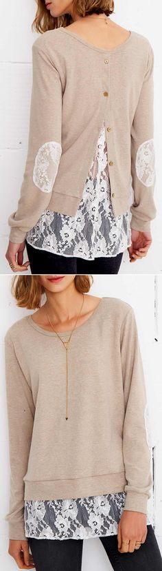 $24.99 Only with free shipping&easy return! This splicing top is the answer to your casual cool needs! It is detailed with lace patch work at elbow&lace splicing! Take this back button down style at Cupshe.com
