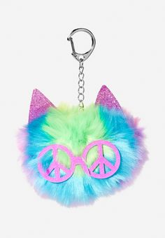 Rainbow Cat Fur Pom