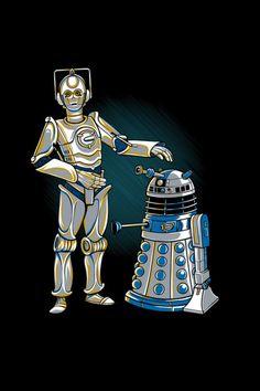 Cyber3PO and R2Dalek - by Kari Fry