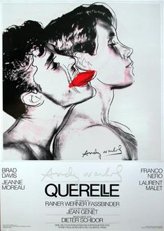 This movie poster was designed and created by Andy Warhol for Querelle, the movie directed by Rainer Werner Fassbinder. With Brad Davis, Franco Nero, Jeanne Moreau. It is in excellent condition. Brad Davis, Andy Warhol, Jeanne Moreau, Kunst Poster, Poster S, Print Poster, Pop Art, Vintage Movies, Vintage Posters