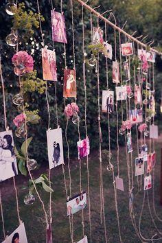 Varal com fotos para detalhes na decoração de casamento.
