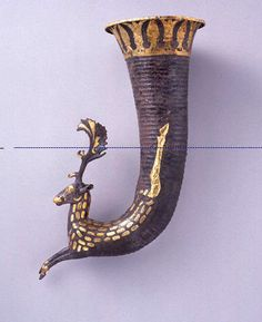 Achaemenid Gilded Silver Rhyton with a Stag Protome 5th-4th cent. BCE, Iran/Persian.